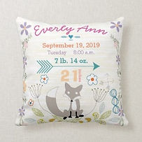 personalised woodland fox nursery cushion wih name and birth statistics