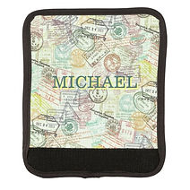 passport stamps collage personalised luggage handle wrap