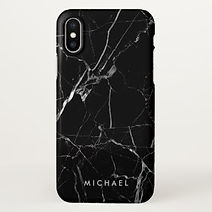 elegant cracked black marble iphone cas