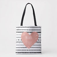 trendy mama style heart and stripes mom's tote bag