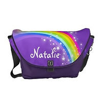sparkly rainbow purple personalised girls messenger bag