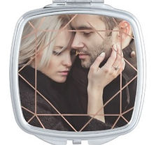faux rose gold geometric custom photo compact mirror