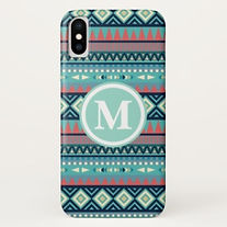 blue tribal aztec pattern iphone case
