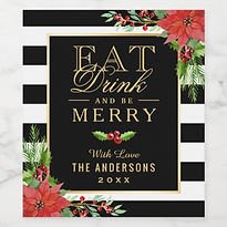 eat drink and be merry christmas wine labels
