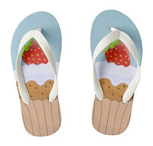 cute strawberry bun kids flip flops