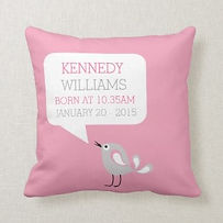 personalied pink baby girl's nursery cushion with little bird