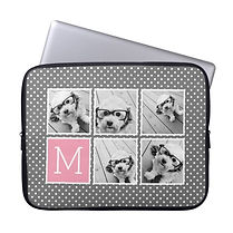 modern custom photo collage grey polka dot monogram laptop sleeve