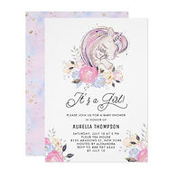 sweet unicorns girl baby shower invitation