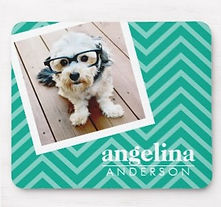 personalised trendy photo and chevron mouse pad