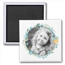 custom photo magnet with pretty flower wreath