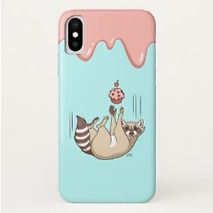 cute raccoon and cupcake iphone case