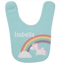 personalised baby girl's bib with rainbow and unicorn