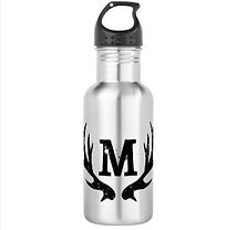 monogram and antlers mens water bottle