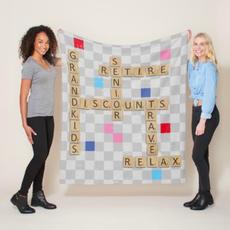 Word Tiles Blanket $58