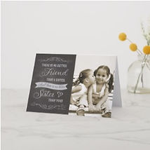 custom photo chalkboard sister card