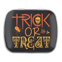 trendy trick or treat halloween candy tin