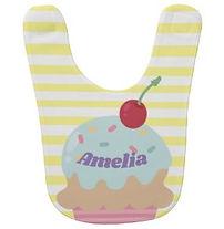 yellow stripes and cupcake personalised baby bib