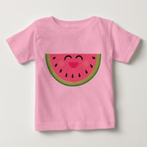 cute chibi watermelon pink baby girls shirt