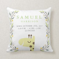 personalised nursery cushion with birth stats and giraffe