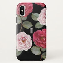 pink roses modern monogram iphone case