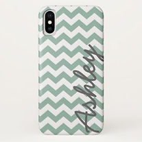 trendy mint chevron personalied iphone case