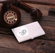 monogramed heart metal business card holder