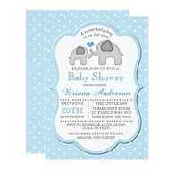 elephants and blue polka dot boy baby shower invitation