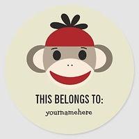 sock monkey kids personalised book labels