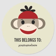 Sock Monkey Labels $6.30
