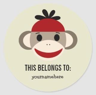 Sock Monkey Labels $6.30