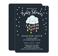 cloud and rainbow drops cute gender neutral baby shower invitation