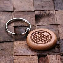 monogrammed wood keychain