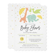 animal friends gender neutral baby shower invitation