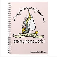 funny unicorn ate my homework kids notebook