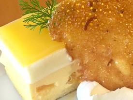 パッションフルーツとハチミツのケーキ