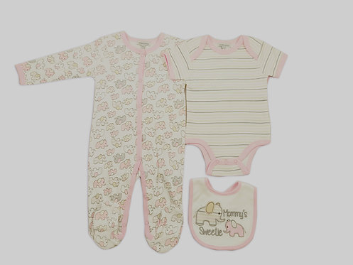 Baby 3 pc Set - Baby Grower, Bodysuit and Bib