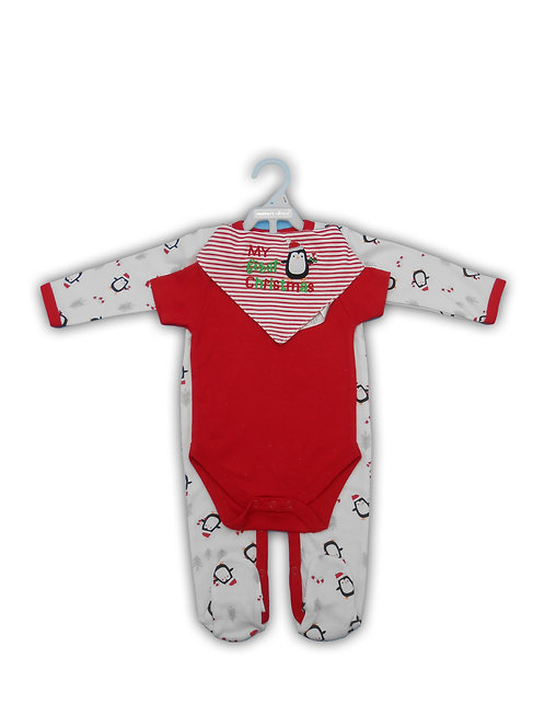 My First Christmas 3 pc Layette Set
