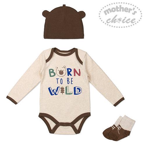 Baby 3 pc Set - Bodysuit, Socks and Beanie