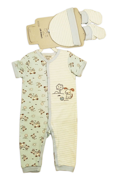 Baby 3 pcs Set of Baby Grower, Hat and Booties