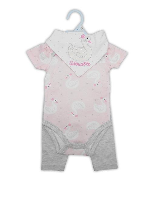 Baby 3 pc Set - Bodysuit, Pants and Bandana Bib