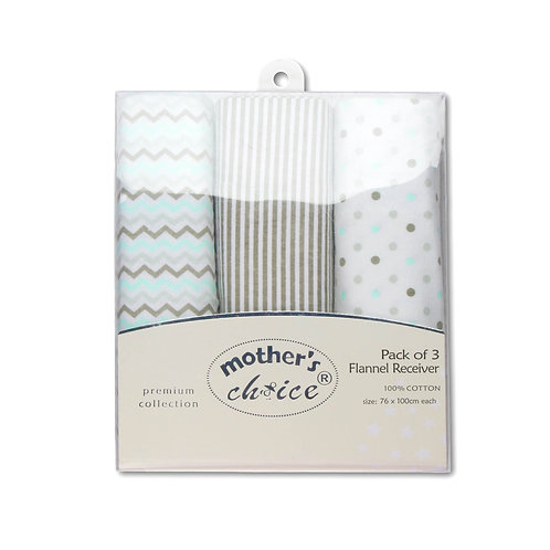 Set of 3 SWADDLE BLANKETS 100% COTTON, FLANNEL