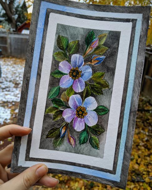"Winter Purple & Blue Blossoms 6""x 9"""