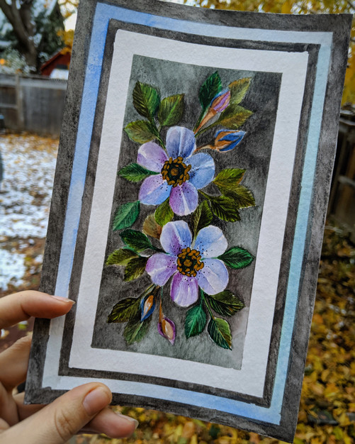 "Winter Purple & Blue Blossoms 6""x 9"""
