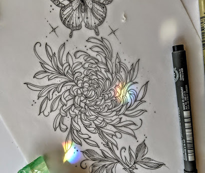 Butterfly n Chrysanthemum