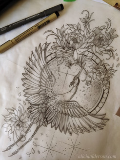 Crane with Chrysanthemums in the Moon
