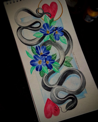 "Snake with Blue Flowers 6""x 12"""
