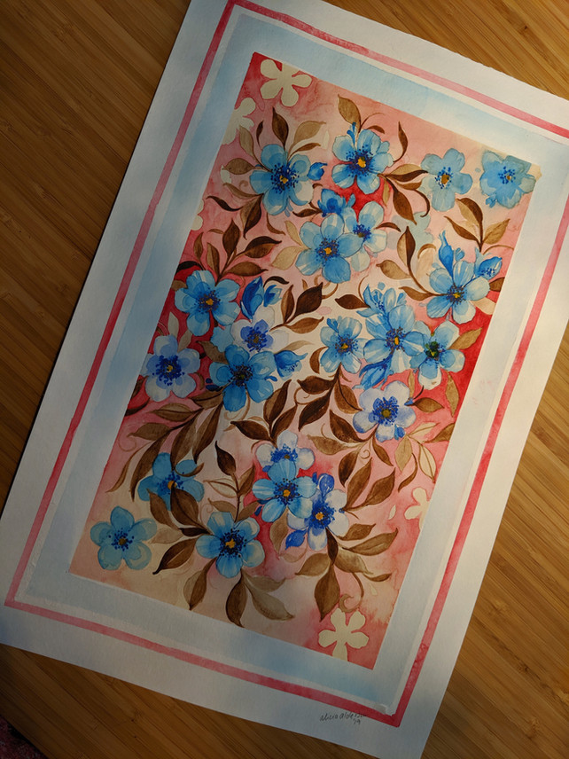 "Blue Blossom with Red Wash 10""x 14"""