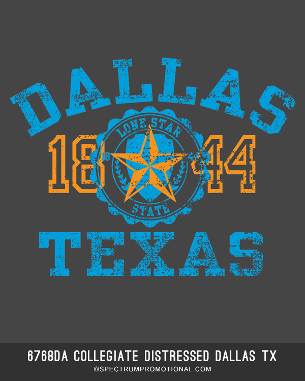 6768DA Collegiate Distressed Dallas Texa