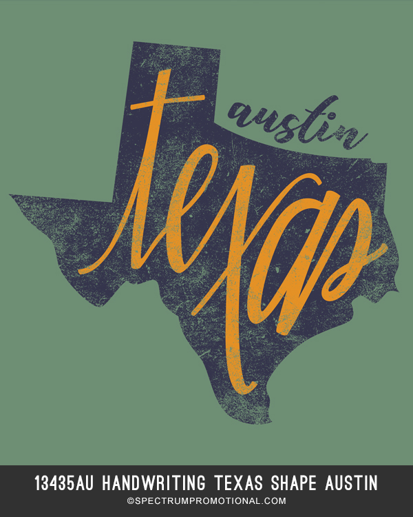13435AU Handwriting Texas Shape Austin