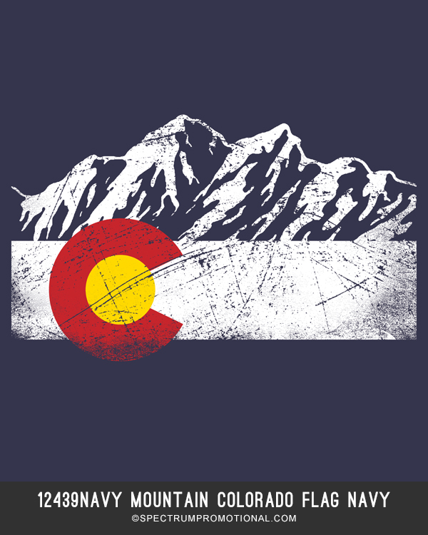 12439NAVY Mountain Colorado Flag Navy